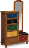 Kids Furniture-Colorworks Pine Tall Chest & Mirror