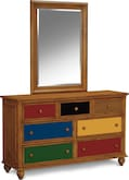Kids Furniture-Colorworks Pine Dresser & Mirror