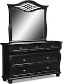 Bedroom Furniture-Hampden Black Dresser & Mirror