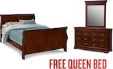 Bedroom Furniture-Avignon Cherry Dresser & Mirror with Free Queen Bed