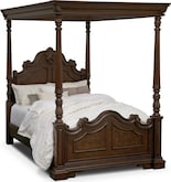 Bedroom Furniture-Lafayette Pecan Canopy Queen Bed