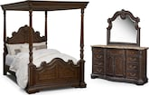 Bedroom Furniture-Lafayette Pecan Canopy 5 Pc. Queen Bedroom
