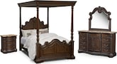 Bedroom Furniture-Lafayette Pecan Canopy 6 Pc. Queen Bedroom