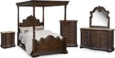 Bedroom Furniture-The Lafayette Pecan Canopy Collection-Lafayette Pecan Canopy Queen Bed