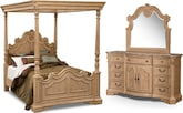 Bedroom Furniture-Lafayette Almond Canopy 5 Pc. Queen Bedroom