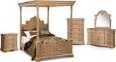 Bedroom Furniture-The Lafayette Almond Canopy Collection-Lafayette Almond Canopy Queen Bed