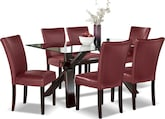 Dining Room Furniture-Vero Red 7 Pc. Dinette
