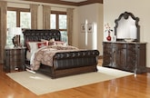 Bedroom Furniture-Lafayette II Pecan 6 Pc. Queen Bedroom