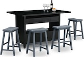 Dining Room Furniture-Thompson Island II 5 Pc. Island Set w/ 4 Saddle Stools