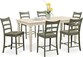 Dining Room Furniture-Thompson II Green 7 Pc. Counter-Height Dinette