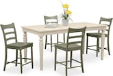 Dining Room Furniture-Thompson II Green 5 Pc. Counter-Height Dinette