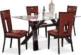 Dining Room Furniture-Vero Paso Red 5 Pc. Dinette