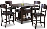 Dining Room Furniture-Wright Espresso 5 Pc. Counter-Height Dinette