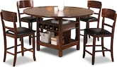 Dining Room Furniture-Wright Brown 5 Pc. Counter-Height Dinette