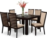 "Dining Room Furniture-Karmon Costa Camel 7 Pc. Dinette (50"" Table)"