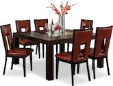 "Dining Room Furniture-Karmon Paso Red 7 Pc. Dinette (60"" Table)"