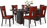 Dining Room Furniture-Costa Paso Red 7 Pc. Dining Room