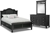 Bedroom Furniture-Magnolia Black Storage 5 Pc. Queen Storage Bedroom