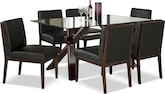 Dining Room Furniture-Vero Reese Black 7 Pc. Dinette