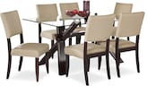 Dining Room Furniture-Vero Keefe Beige 7 Pc. Dinette