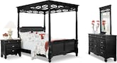 Bedroom Furniture-Magnolia Black Canopy 6 Pc. Queen Bedroom (Alternate)