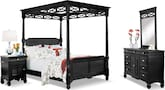 Bedroom Furniture-Magnolia Black Canopy 6 Pc. Queen Bedroom