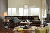 Living Room Furniture-The Wyoming Godiva Collection-Wyoming Godiva 5 Pc. Reclining Sectional