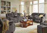Living Room Furniture-The Mullins Gray Collection-Mullins Gray Dual Reclining Sofa