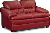 Living Room Furniture-Bremont Red Loveseat