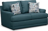 Living Room Furniture-Calamar Teal Loveseat