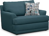 Living Room Furniture-Calamar Teal Chair and a Half