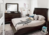 Bedroom Furniture-Atwater Merlot 5 Pc. Queen Bedroom