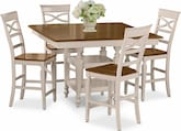 Dining Room Furniture-Sophie Cream 5 Pc. Counter-Height Dinette