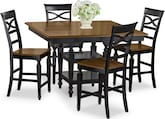 Dining Room Furniture-Sophie Black 5 Pc. Counter-Height Dinette