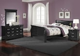 Kids Furniture-Avignon II Black 6 Pc. Full Bedroom
