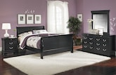 Bedroom Furniture-Avignon Black 6 Pc. Queen Bedroom