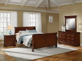 Bedroom Furniture-Avignon Cherry 6 Pc. Queen Bedroom