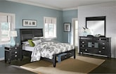 Bedroom Furniture-Peony II Black 6 Pc. King Storage Bedroom