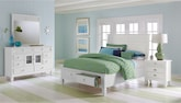 Bedroom Furniture-Peony II White 6 Pc. Queen Storage Bedroom