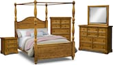 Carlyle Oak Canopy 7 Pc. Queen Bedroom