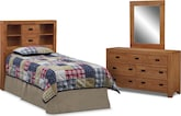 Kids Furniture-Drew Bookcase II 3 Pc. Bedroom w/ Twin Bookcase Headboard