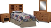 Kids Furniture-Drew Bookcase II 4 Pc. Bedroom w/ Full Bookcase Headboard