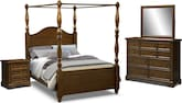 Bedroom Furniture-Hale Rustic Canopy 7 Pc. Queen Bedroom