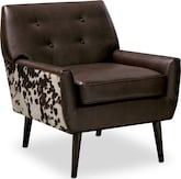 Living Room Furniture-Marquette Chocolate Accent Chair