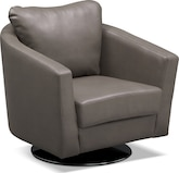 Living Room Furniture-Bianco Gray Swivel Chair