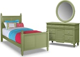 Kids Furniture-Mayflower Green 5 Pc. Full Bedroom