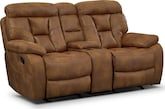 Living Room Furniture-Wichita Almond Glider Reclining Loveseat w/ Console