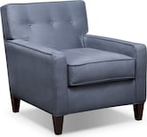 Living Room Furniture-Hudson Steel Blue Accent Chair