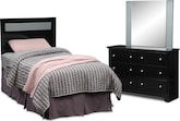 Kids Furniture-Anya Black 3 Pc. Bedroom w/ Twin Headboard