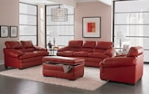 Living Room Furniture-The Bremont Red Collection-Bremont Red Sofa